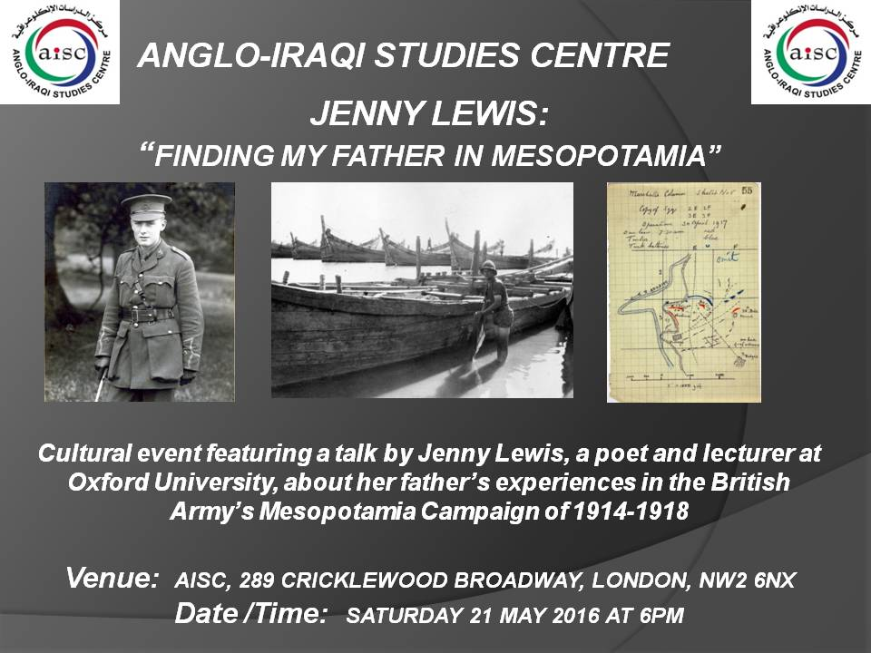 "OUR NEXT CULTURAL EVENT:  ""FINDING MY FATHER IN MESOPOTAMIA"" – 21 MAY 2016 (AISC OFFICE)"